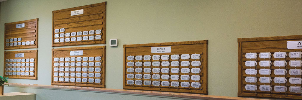 Dog Tag Memorials on wall at American Legion Memorial Building